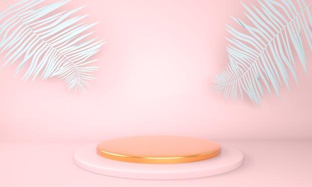 Productvertoningspodium versierd met bladeren op pastelkleurige achtergrond 3d illustratie