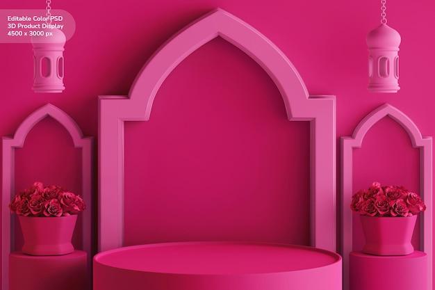 Productvitrine met veranderlijke kleur 3d creatief ontwerp ramadan kareem eid mubarak