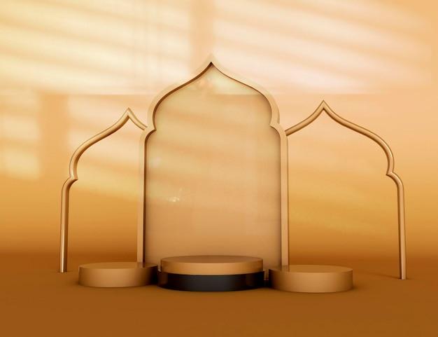 Productweergave ramadan kareem islamitische ceremoniële 3d render
