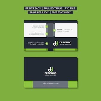 Profesional moderna tarjeta de visita verde
