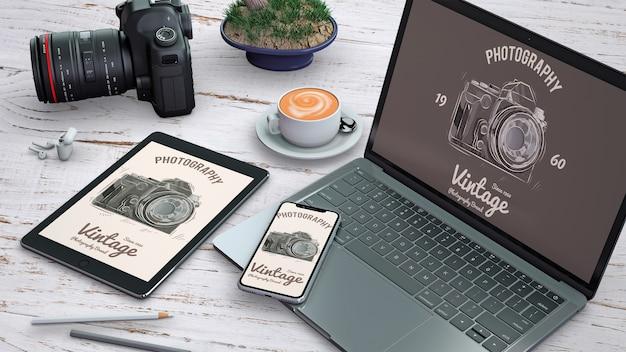 Professioneel kantoorbehoeftenmodel met fotografieconcept