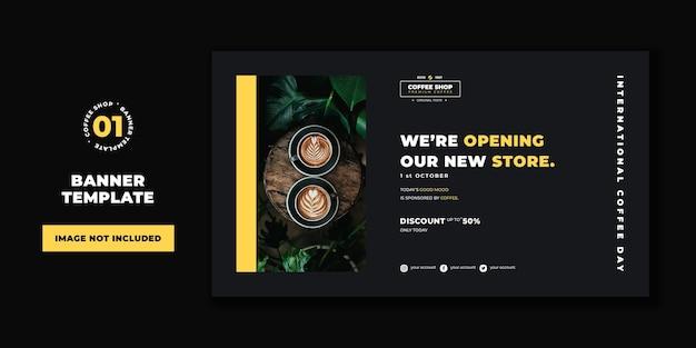 Professionele sjabloon voor spandoek coffeeshop concept