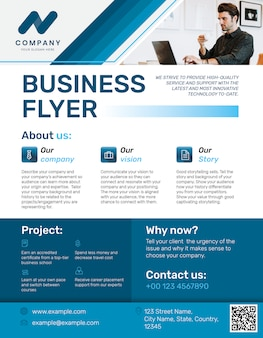 Professionele zakelijke flyer blauw modern design