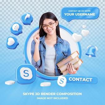 Profiel op skype 3d-rendering geïsoleerd