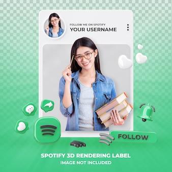 Profiel op spotify 3d-rendering geïsoleerd