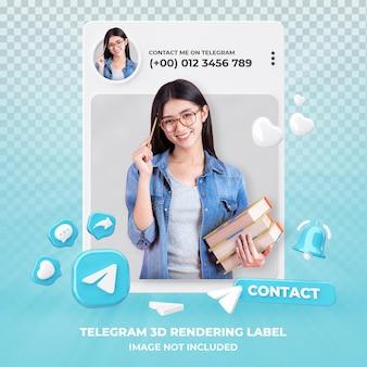 Profiel op telegram 3d-rendering geïsoleerd