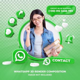 Profiel op whatsapp 3d-rendering geïsoleerd