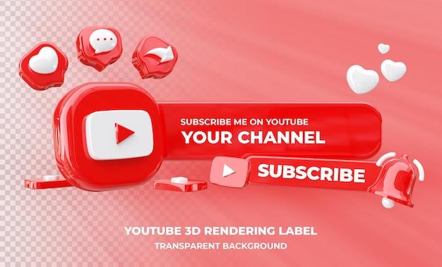 Profiel op youtube 3d-rendering geïsoleerd
