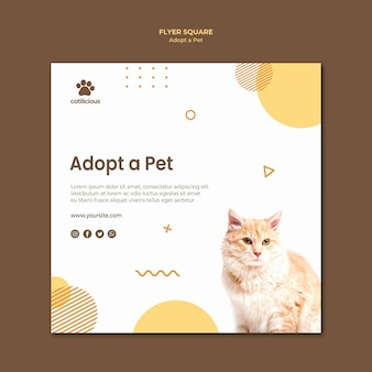 Progettazione del modello di volantino quadrato adozione animale domestico