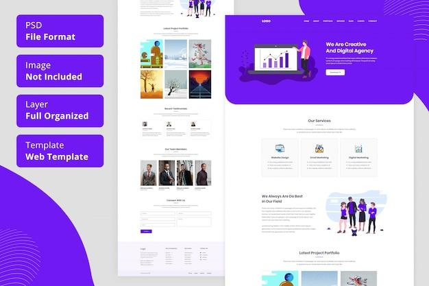 Progettazione dell'interfaccia utente del modello web della pagina di destinazione dell'agenzia creativa o dell'agenzia creativa e digitale