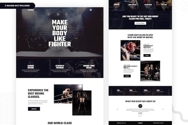 Progettazione della pagina del sito web delle classi di boxe