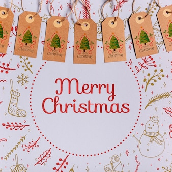 Progettazione di etichette natalizie in cartone appeso