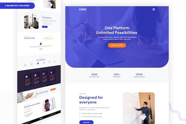Progettazione di una pagina web di possibilità illimitate su una piattaforma