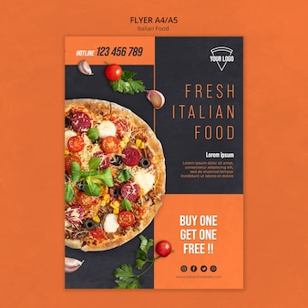 Progettazione di volantini di cibo italiano