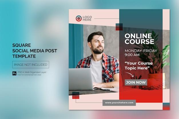 Programa de clase en línea publicación en redes sociales o plantilla de banner cuadrado
