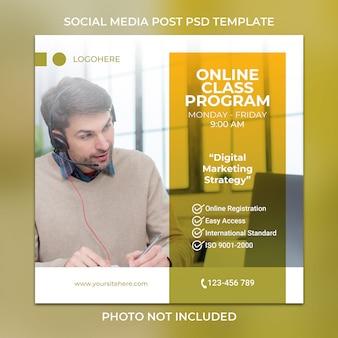 Programa de clase en línea para publicación en redes sociales