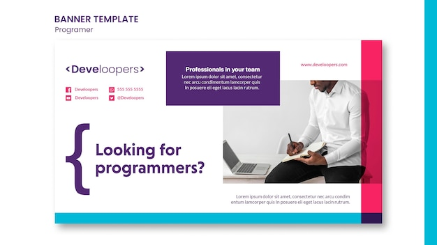 Programmeur advertentie sjabloon voor spandoek