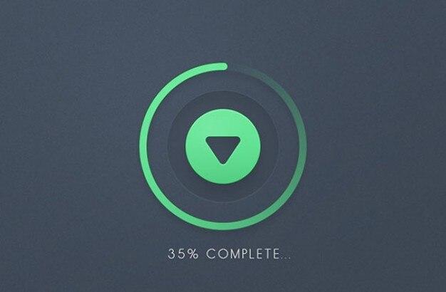 Progreso barra redonda download botón psd