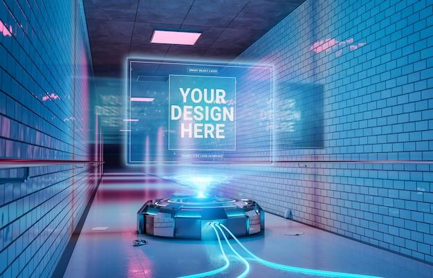 Proiettore logo nel tunnel interno sotterraneo mockup