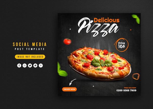 Promoción de alimentos en redes sociales y plantilla de diseño de publicación de banner de instagram