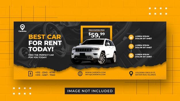 Promoción de alquiler de coches plantilla de banner de portada de facebook de redes sociales