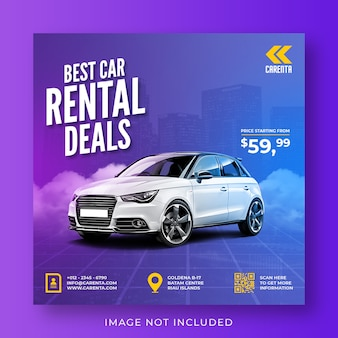 Promoción de alquiler de coches plantilla de banner de publicación de instagram de redes sociales