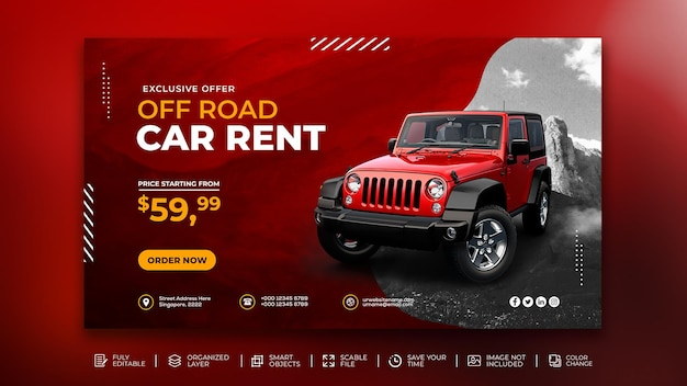 Promoción de alquiler de coches todoterreno banner web faceboo kcover plantilla de instagram para publicación en redes sociales