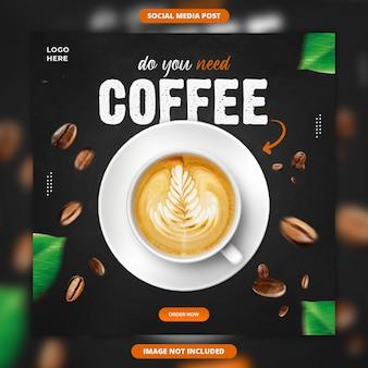 Promoción de bebidas de café plantilla de banner de publicación de instagram de redes sociales
