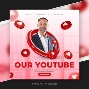 Promoción de canal de youtube 3d para plantilla de publicación en redes sociales
