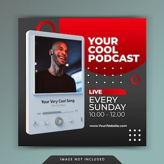 Promoción de canales de podcasts para plantillas de historias de publicaciones en redes sociales