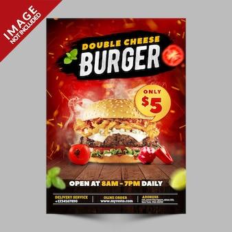 Promoción de cartel de hamburguesa con queso doble
