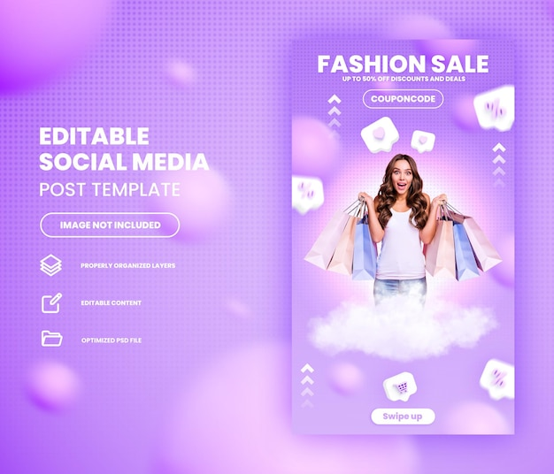 Promoción de compras en línea de venta flash de moda en las redes sociales plantilla de historia de instagram premium psd