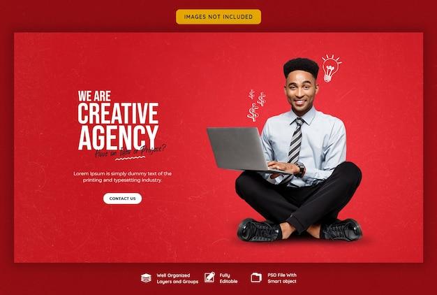 Promoción empresarial y plantilla de banner web creativo