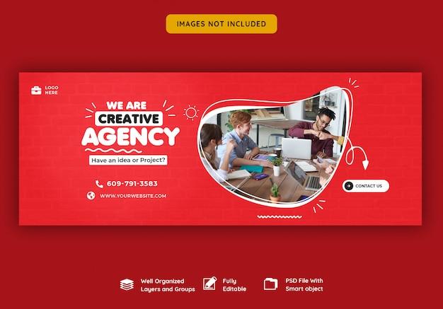 Promoción empresarial y plantilla de portada creativa de facebook