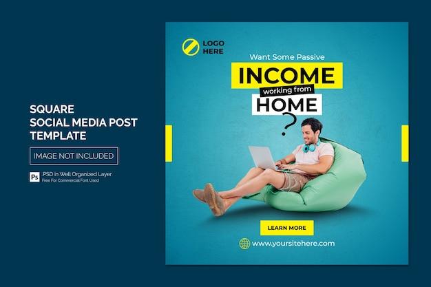 Promoción empresarial y publicación de redes sociales corporativas o plantilla de banner cuadrado
