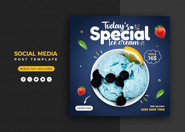 Promoción de helados en redes sociales y plantilla de diseño de publicación de banner de instagram