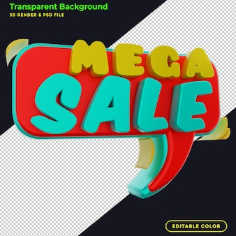 Promoción de insignia de descuento de mega venta 3d