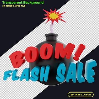 Promoción de la insignia del descuento de la venta flash del auge 3d