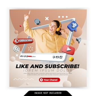 Promoción de me gusta y suscripción de youtube para la plantilla de publicación de redes sociales de publicación de instagram