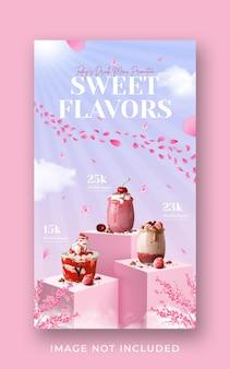 Promoción de menú de bebidas especiales plantilla de banner de historia de instagram de redes sociales