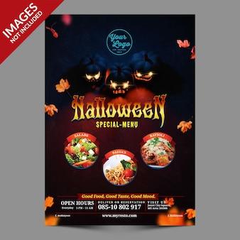 Promoción de menú de halloween para cafetería y restaurante