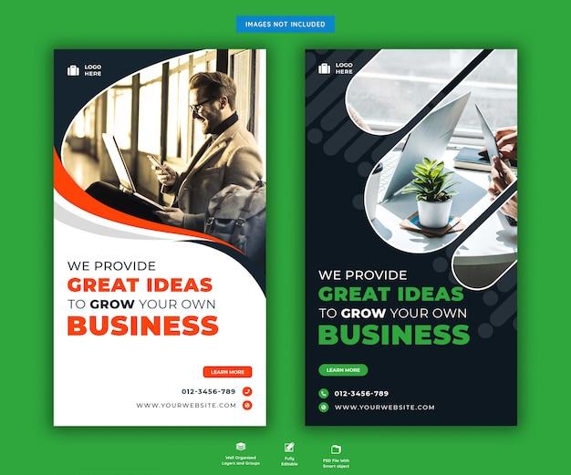 Promoción de negocios corporativos de plantilla de historias