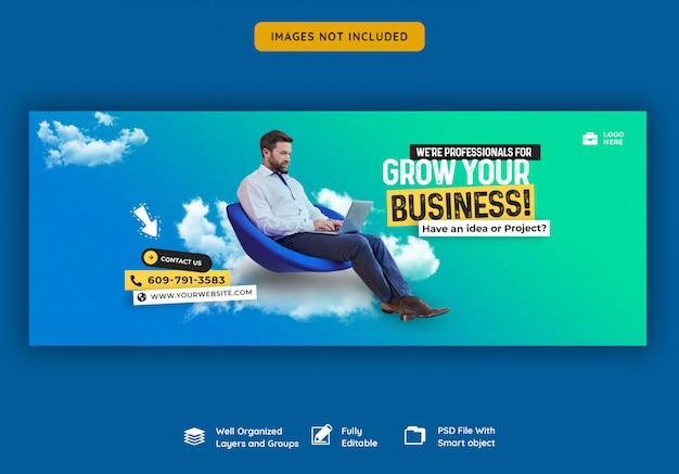 Promoción de negocios y plantilla de portada corporativa de facebook