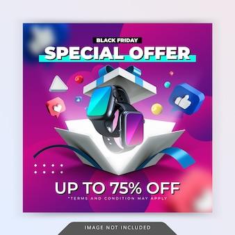 Promoción de oferta especial de viernes negro para plantilla de diseño de publicación de instagram