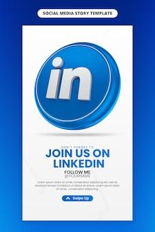 Promoción de página de negocios con render 3d icono de linkedin para plantilla de historia de instagram y redes sociales