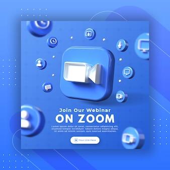 Promoción de la página del seminario web con el logotipo de zoom de render 3d para la plantilla de publicación de instagram