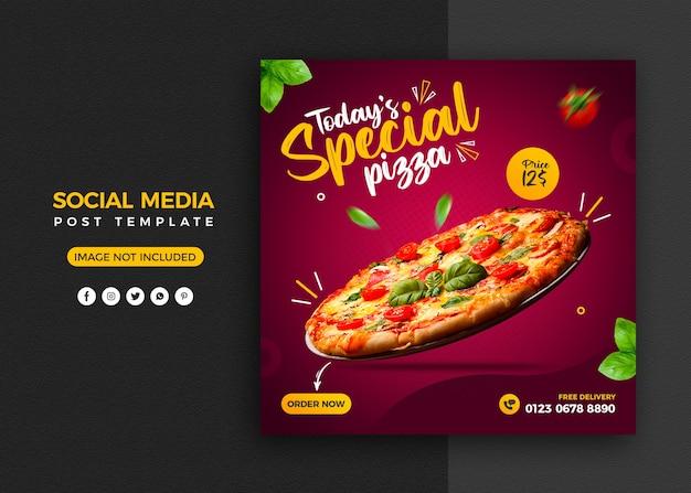 Promoción de pizza en redes sociales y plantilla de diseño de publicación de banner de instagram