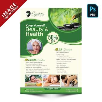 Promoción de productos y paquetes de spa verde parte frontal