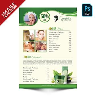 Promoción de productos y paquetes de spa verde parte posterior