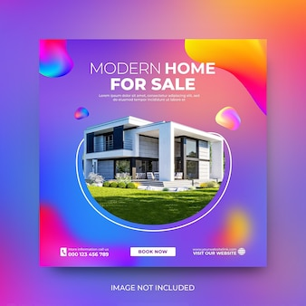 Promoción de publicaciones en redes sociales de venta de casas inmobiliarias plantilla de instagram psd